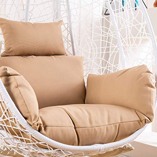 LIYANJIN Cuscini per sedie pensili a Forma di Uovo Cuscini per seggiolini a Nido, Imbottiti per sedie a Dondolo Lavabili Rimovibili Impermeabili Spessi Indietro Senza sedie-Cachi