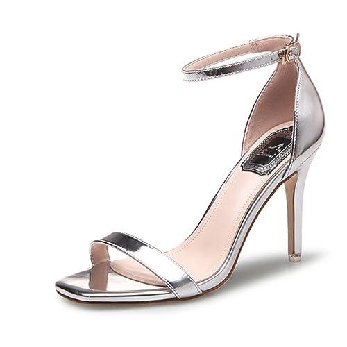 00cd82b8222941 Damen Sandaletten High Heels Knöchelriemchen Sandalen Absatz Offene Schuhe