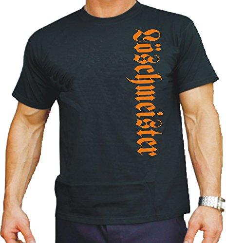 feuer1 T-Shirt Black, Löschmeister vertikal in orange