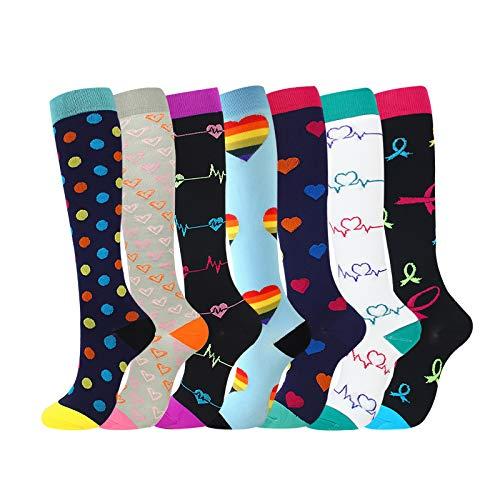 Kompressionsstrümpfe für Damen und Herren(7 Paar)Compression Socks Kompression Laufsocken für Sport Reisen -forRunning, Sport– unter dem Knie hoch (1,L/xl)
