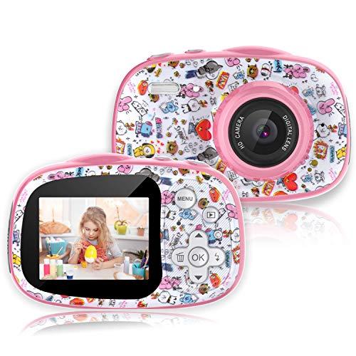 PTHTECHUS CáMara Digital para NiñOs, 12MP 1080P 2.0 HD Selfie Video Digital Cámara Infantil, MP3 MP4 Juego, Regalos Ideales para Niños Niñas de 3-10 Años, con Tarjeta TF 32 GB, Cumpleaños