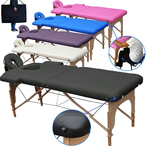 Beltom Mobile Massagetisch Massageliege Massagebank 2 zonen klappbar THERAPIELIEGE +TA. - Schwarz