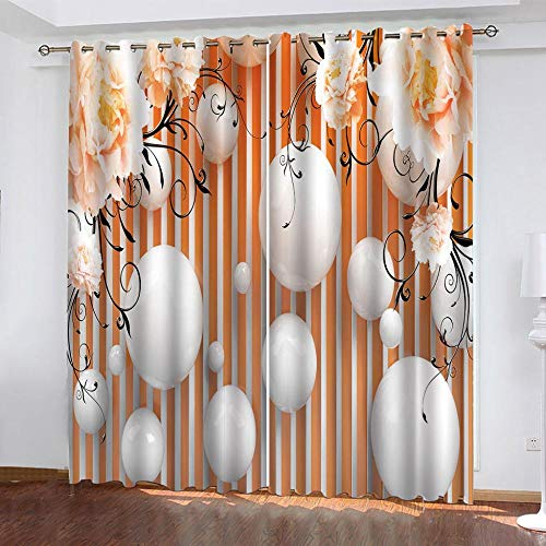 CLYDX Eyelet Curtains 43'x85' For Bedroom, Orb Flower Polyester Window Drape For Kitchen Cafe Curtains Shade Window Curtains, 2 Panels