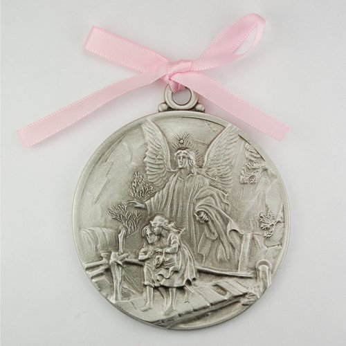 Guardian Angel Crib Medal Pink Ribbon Round 2 3/4 Great Gift great baptism christening gift keepsake gift