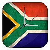 LEotiE SINCE 2004 Wanduhr mit geräuschlosem Uhrwerk Dekouhr Küchenuhr Baduhr Abenteurer Wand Deko Südafrika Flagge Dekouhr Vintage