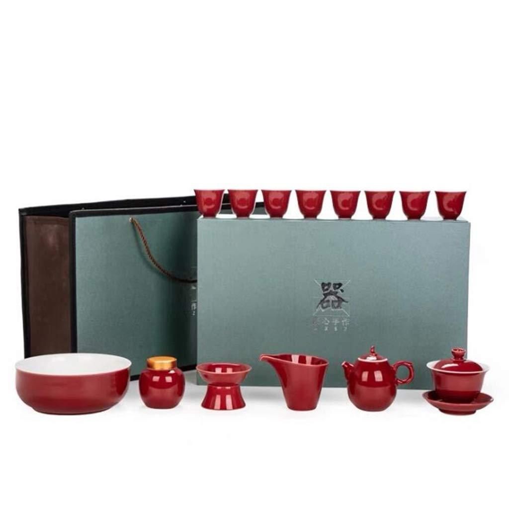 H.L Juego De Té De Kung Fu, Juego De Té De Cerámica Rojo Chino Vintage, Negocios, 2 Juegos: Amazon.es: Hogar