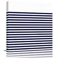 12x12in Framed Canvas Wall Art Home Artwork Decoration Abstract Oil Painting, Dark Blue Stripe Print Pictures on Wrapped Canvas for Wall, Ready to Hang