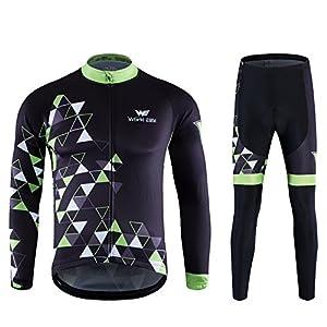 サイクルジャージ World Elite サイクルリング ウェア 長袖ジャージ 自転車ウェア 上下セット 3D立体デザイン 通気速乾 品質保証 男女兼用 (XL CS-007)