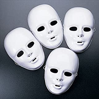 Fun Express Plastic Halloween White Drama Party Kids Face Masks (12 Pack)