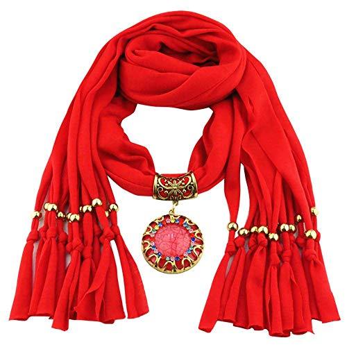 YEBIRAL Schal Damen Schal Anhänger Quaste Frauen Mode Accessoires Deckenschal Halstuch Schals(Rot)