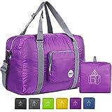WANDF Foldable Travel Duffel Bag Sac de Voyage Pliable Sac de Sport Gym Résistant à l'eau Nylon (40L Violet)