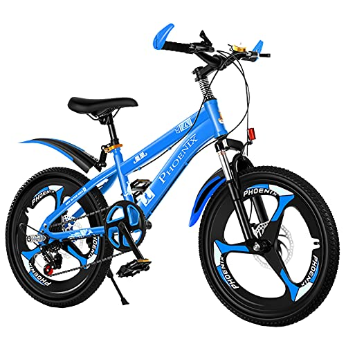 Axdwfd Kids Bike 18/20 Inch Shock-absorbing Bicycle, Suitable For Boys And Girls Aged 7-14, With Rear Bracket, 2 Colors Bicycle(Size:18in,Color:Blue)