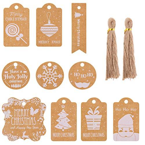 200 Pièces Étiquettes de Cadeaux Noël, Etiquette en Papier Kraft avec Ficelle Jute pour Emballage de Cadeaux de Joyeux Noel et Décoration D'arbre de Noël