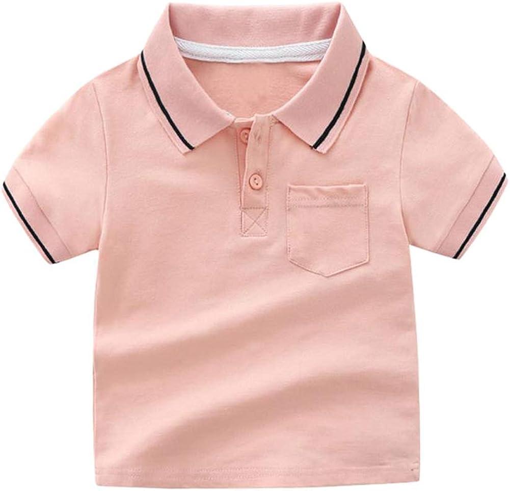 Motecity Fashion Little Boys' Casual Polo-Shirt (4t, Pink)