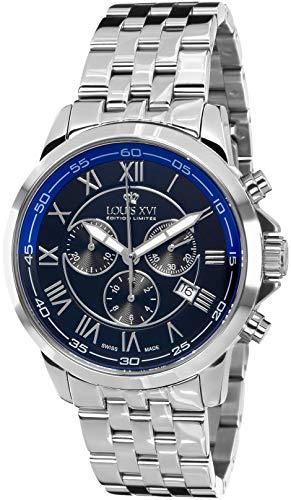 LOUIS XVI Herren-Armbanduhr Aramis Stahlband Silber Schwarz Blau Chronograph Analog Quarz Edelstahl 792