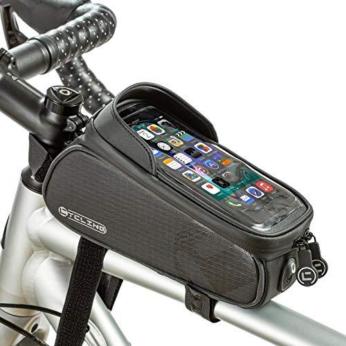 UBORSE Fahrrad Rahmentasche Wasserdicht Handytasche mit Touchscreen Kopfhörerloch Oberrohrtasche Lenkertasche Fahrradtasche mit Handyhalterung Radzubehör Werkzeugtasche für Mountainbike Rennrad