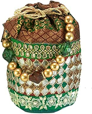Women Potli Bag Embroidered Party dress Wedding Green Dno. 7