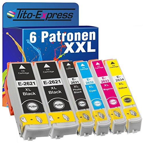 Tito-Express PlatinumSerie 6X Patrone XXL kompatibel mit Epson TE2621 TE2631-TE2634 Expression Premium XP-620 XP-620 Series XP-625 XP-700 XP-710 XP-720 XP-800 XP-810 XP-820