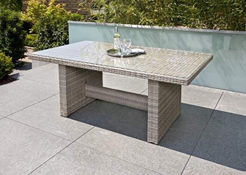 Ribelli Rotan eettafel 'Nevada' - eettafel grijs tuintafel terrastafel tuinmeubelen tafel 180 x 100 x 74 cm