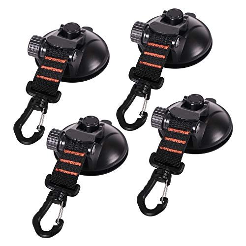 REDCAMP Heavy Duty Suction Cup Anchor with Securing Hook Tie Down, Camping Tarp Accessory as Car Side Awning, 4 Pieces