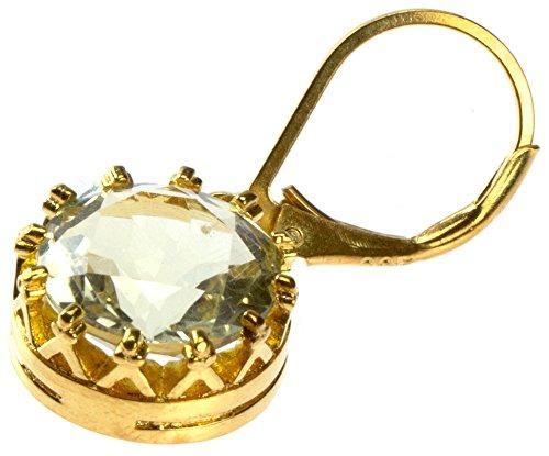 Orecchini in argento Chic-Net quarzo Corona limone rotondo sfaccettato placcato oro 1 micron argento sterling 925 10 millimetri