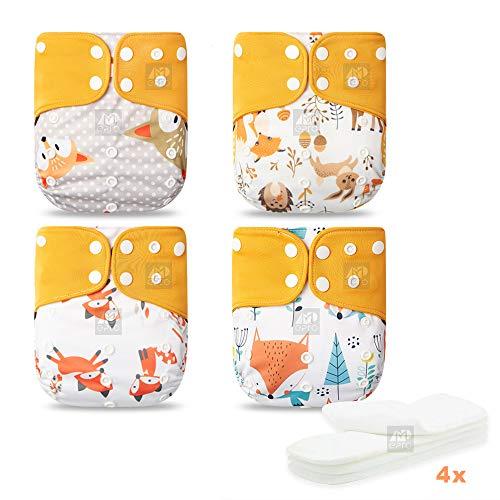 Elinfant 4er-Set baby Windelsets mit erfrischender Kaffeefaser-Innenschicht, atmungsaktiv, weich & elastisch, schnell trocken, hinterlässt keine Flecken, mit 4x Mikrofaser-Einlagen AI2 (Gelb)