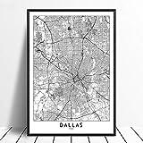 Leinwanddruck,Dallas Schwarz Weiß Benutzerdefinierte Welt