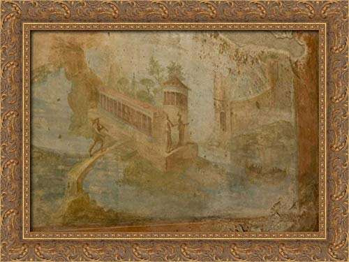 Kaveney, Wendy 40x28 Gold Ornate Framed Canvas Art Print Titled: Italy, Pompeii House of The Small Fountain