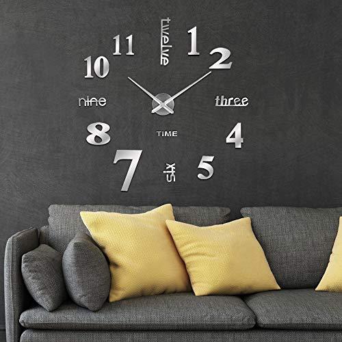iKALULA DIY Wanduhren, DIY 3D Wanduhren Mute DIY große Wanduhr 3D Wanduhr Modern Design Acryl Wanduhren Wandtattoo Dekoration Uhren für Büro Wohnzimmer Schlafzimmer Dekoartikel Quarzuhr - Silber