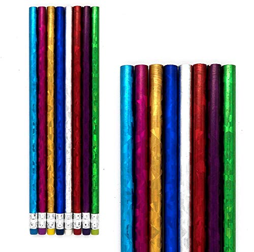 Emraw Colorful Round No 2 HB Metallic Laser Foil Wood Cased Pencils with Eraser Top - Pack of 16 Unsharpened Sparkling Bright Pencils