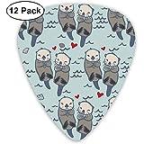 Sea Otter Love Images Guitare Picks Set 12 Médiators Ukulélé, Incluant 0,46 Mm, 0,71 Mm, 0,96 Mm Médiator Acoustique Pick and Pick Box