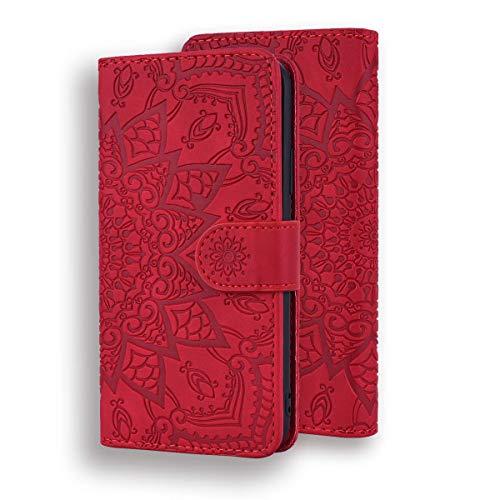 FNBK Kompatibel mit Hülle Huawei Mate 20 Lite Flip Handytasche Leder Hülle Ultra Dünn Blume Handy Flip Leder Tasche Bunt Handyhülle Stoßfest Klapphülle Handytasche Slim Brieftasche Lederhülle,Rot