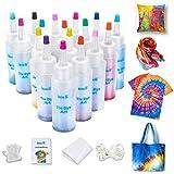 imoli Tie Dye Kit con 18 colores vibrantes, Kids Tie Dye Set para grupos con guantes, bandas de goma, cubierta de mesa, botellas grandes de tinte de bricolaje para fiesta, festival, cumpleaños