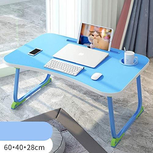 Laptop bureau voor Bed LAPTOP STAND Multifunctionele speeltafel Simple Foldable Computer Bureau lezen van houder Laptop Bed Tafel met Cup Slot for Sofa Bed Terras Balkon Tuinverdieping (Kleur: Blauw,