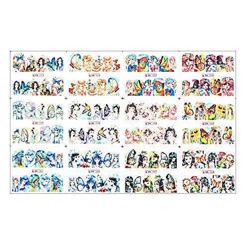 Décoration d'ongles Mignon Manucure DIY Sexy Fille Coloré Papillon Abstrait Nail Stickers (03)