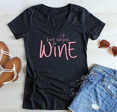 """Wein-Shirt mit Aufschrift """"N/ A May Contain Weinliebhaber"""", mit Rundhalsausschnitt oder Racerback-Tank, lustiges Weinhemd, Geschenk für Ihre Mama braucht Wein S einfarbig"""