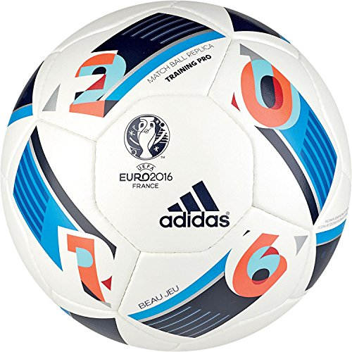 adidas Herren Ball EURO 2016 Training Pro, White/Bright Blue/Night Indigo, 5