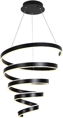HYLH Lámpara Colgante LED Moderna 90W Lámpara Colgante Negra Lámpara Colgante Decorativa en Espiral Lámpara Colgante Aluminio Lámpara Sala Lámpara Interior Creativa para Escalera Dormitorio Comedor: Amazon.es: Hogar