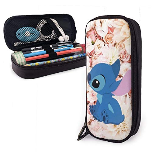 Etryrt Stitch Pencil Case Große Kapazität Doppel-Zippe-Stifthalter für Büro-Schulbedarf Kosmetikdokumente Daily Essentials