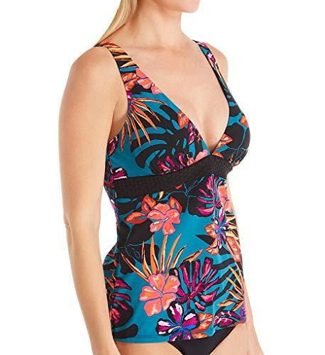 Christina Women's Triangle V-Neck Tankini Top Swimsuit, Bloom Tropics Multi, 10