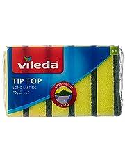 Vileda Tip Top Dish Washing Medium Foam Sponge Scourer - 5 Pieces
