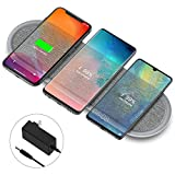 Wireless Charging Pad, Lecone Qi Certified Fabric Triple Wireless Charger with Two USB Ports fo…