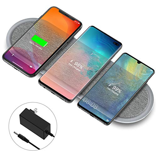 Wireless Charging Pad, Lecone Qi Certified Fabric Triple Wireless Charger with Two USB Ports for iPhone SE 2020/11/11 Pro/11 Pro Max/Xs MAX/XR/XS/X/8,Galaxy S20/Note 10/S10 Plusuded