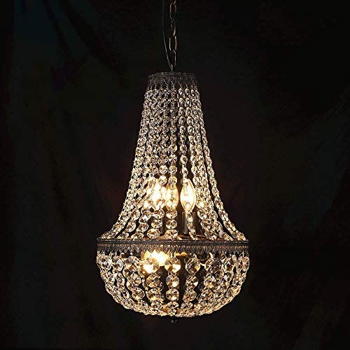 Wellmet 6 Lights French Empire Crystal Chandelier 13 Inch Farmhouse Pendant Chandeliers Lighting product image