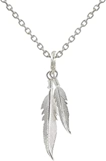 Les Poulettes Jewels - Sterling Silver Necklace Two Feathers