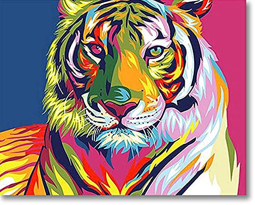 Tiger Paint by Number Art Kit – 16 x 20-inch Painting by Numbers for Adults – Premium Canvas Painting Kit for Beginners – Vivid and Bright Oil Paint Canvas Framed Art – Fun DIY Paint by Numbers Kit