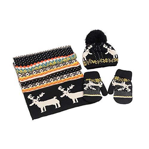 Makluce 2020 Kersthema acryl Kitz warme sjaal handschoenen hoed winter warm (3 stuks)