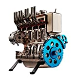 FenglinTech Stirling Engine, L4 4 Cylinder Full Metal Car Engine Assembly Kit Model Toys for Adults