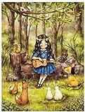 XZHYMJ 5D kits de pintura de diamantes dibujos animados chica guitarra perro pájaro animal árbol arte paisaje bordado mosaico decoración del hogar regalo 40 × 50cm