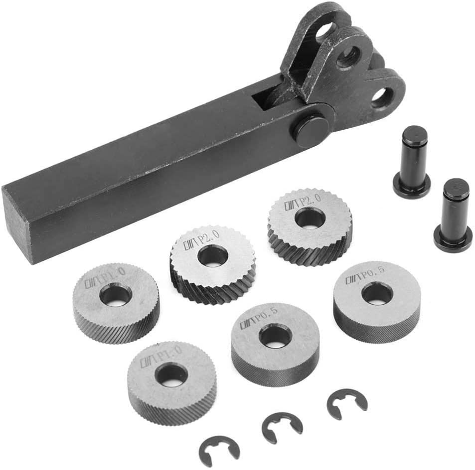 Fafeicy 7Pcs Herramienta de moleteado de acero, 0.5/1/2mm Diagonal Dual Wheel Linear Knurl Set, Máquina cortadora de torno